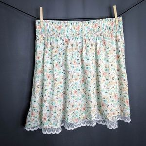 H&M Skirt Size XL Blue Pink Floral Womens Flare